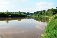 Meander of Odra river on czech-polish boundaries near Bohumin city Stock Photography