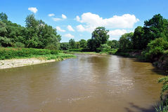 Meander of Odra river on czech-polish boundaries near Bohumin city Royalty Free Stock Photography