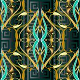 Meander ornamental modern background. Vector vintage Damask 3d s. Eamless pattern. Geometric abstract design with paisley flowers, leaves, curves, lines, shapes royalty free illustration