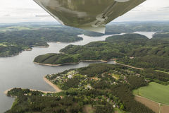 Meander of the river Vltava in the Czech Republic, view from the plane Stock Photos