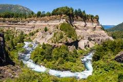 Meander Truful-Truful rzeka, Chile fotografia stock