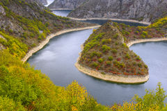 Meander of the Uvac river (Serbia) Stock Photo