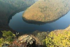 Meander van rivier Moldau Stock Foto