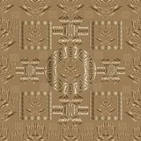 Meander vector 3d seamless pattern. Light geometric background. Geometry ornate wallpaper. Abstract trendy 3d ornaments with Baroque Victorian elements.  Gold Stock Images
