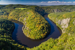 Meander of Vltava River  - Teletin, Czech Republic Royalty Free Stock Photo