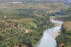 Meandering Cagayan river Philippines. The meandering Cagayan river upstream from Cagayan de Oro City, Mindanao, Philippines, in a karst or limestone canyon and Stock Image