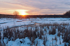 Meandering Creek of Minnesota Valley at Sundown Stock Photo