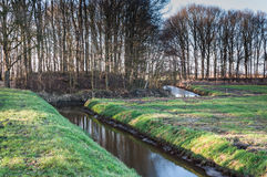 Meandering ditch in a rural area Royalty Free Stock Photos