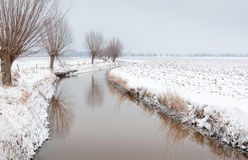 Meandering ditch in a rural landscape covered with Stock Images