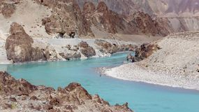 Meandering Indus River and landscape Royalty Free Stock Image