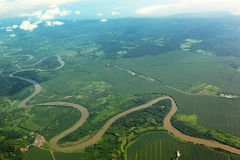 Meandering river from the air Royalty Free Stock Photo