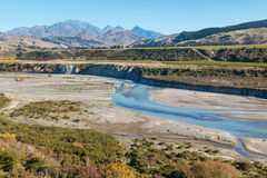 Meandering river in Awatere valley in New Zealand Royalty Free Stock Photo