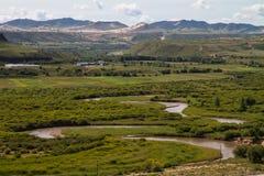 Meandering river crossing Prairie in Inner Mongolia Stock Photo