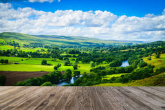 Meandering River making its way through lush green rural farmlan Stock Photography