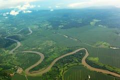 Meandering rzeka od powietrza Zdjęcie Royalty Free