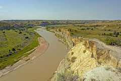 Meandering Stream in the Badlands Royalty Free Stock Image
