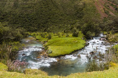 Meandering stream in Huascaran National Park. At Huaraz, Peru Stock Images