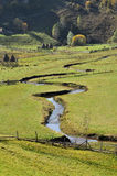 Meandering watercourse in a green meadow Royalty Free Stock Photos