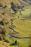 Meandering watercourse in a green meadow Stock Photography
