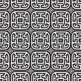 Meanders black and white vector seamless pattern. Abstract check. Ered ornamental greek key background. Ancient decorative geometric ornament. Ornate design royalty free illustration