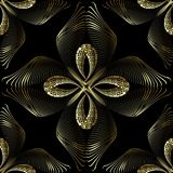 Meanders greek 3d vector seamless pattern. Floral greek key orna. Mental background. Abstract repeat Paisley  flowers ornament. Geometric line striped fractal royalty free illustration