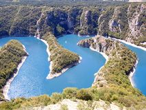 Meanders of river Uvac in the Southwest of Serbia royalty free stock photography