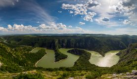 Meanders at rocky river Uvac river in Serbia Stock Photos