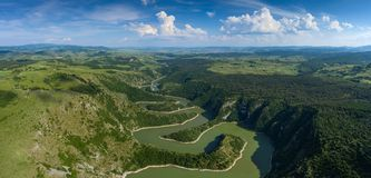 Meanders at rocky river Uvac river in Serbia Royalty Free Stock Photos