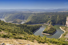 Meanders of Uvac river Stock Photos