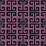 Meanderu grka klucza 3d bezszwowy wzór Czarny i fiołkowy patterne royalty ilustracja