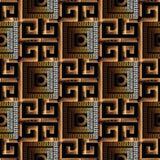 Meanderu grka klucza 3d bezszwowy wzór Czerń i złoto deseniujący royalty ilustracja