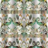Meanderu kwiecisty kolorowy bezszwowy wzór Wektorowy geometryczny plecy Obrazy Stock