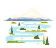 Meandrando a paisagem do rio Fotos de Stock