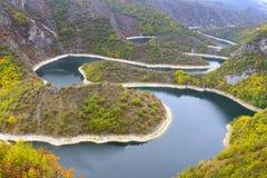 Meandro del fiume di Uvac, Serbia fotografia stock libera da diritti