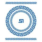 Meandro del ornamento del círculo Marco redondo, rosetón de elementos antiguos Modelo redondo antiguo nacional griego, vector Pul Fotografía de archivo