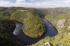 Meandro del río de Vltava Imágenes de archivo libres de regalías