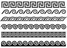 Meandro ed onda. Ornamento del greco antico. Immagini Stock