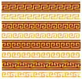 Meandros inconsútiles de oro. Ornamentos del griego clásico. Foto de archivo
