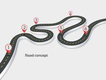 Meandrować 3d drogowego infographic pojęcie na białym tle Obraz Stock