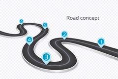 Meandrować 3d drogowego infographic pojęcie na białym tle TimeL ilustracja wektor