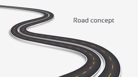 Meandrować 3D drogowego pojęcie na białym tle Linia czasu szablon Obraz Stock