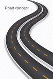 Meandrować 3D drogowego pojęcie na przejrzystym tle Linii czasu te Zdjęcie Royalty Free