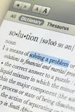 Meaning of solution. In online dictionary and hilight at solving a problem word royalty free stock photos