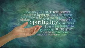 The meaning of Spirituality Word Cloud. Female open palm hand gesturing towards the word SPIRITUALITY surrounded by a relevant word cloud on a wispy green Stock Photography