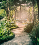 Meaningful quote on blurred garden background Royalty Free Stock Photo