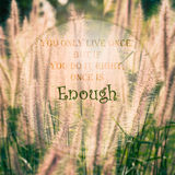 Meaningful quote on blurred meadow background stock photography