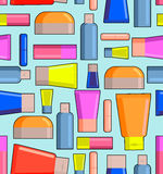 Means for care of body seamless pattern. Pots, creams and lipsti Royalty Free Stock Photography
