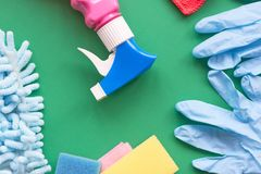 Means for cleaning and washing are on the table. royalty free stock photos