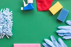 Means for cleaning and washing are on the table. royalty free stock photo