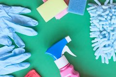 Means for cleaning and washing are on the table. stock images